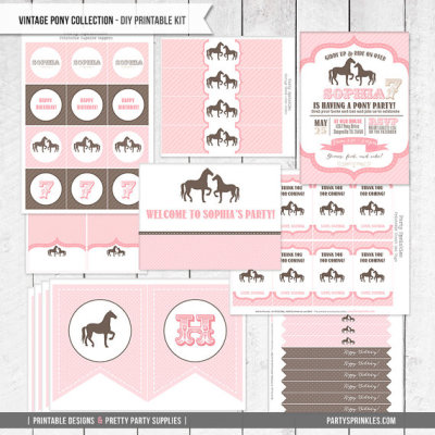 Vintage PONY Horse Birthday Party collection & invitations for girls