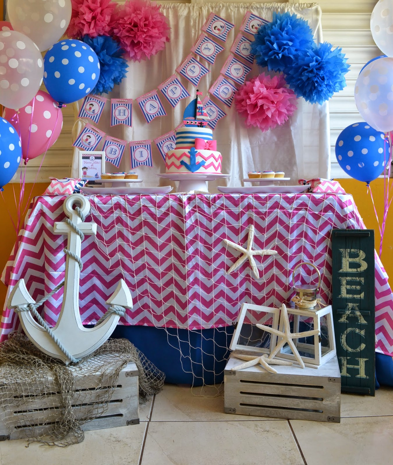 Pink blue nautical girl party birthday party ideas for Anchor decoration party
