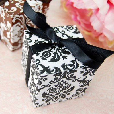black and white damask favor box