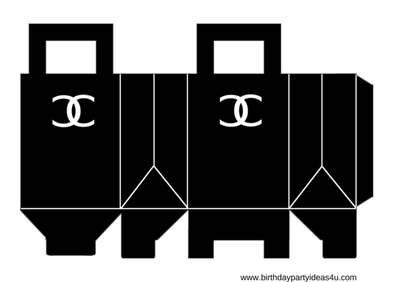 free coco chanel party favor party boxes with chanel logo