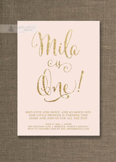 Blush Pink & Gold Birthday Invitation