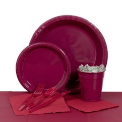 Burgundy Plastic Party Pack