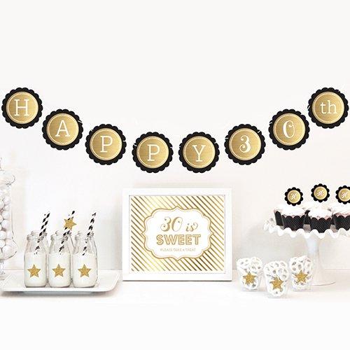 Gold & Glitter Milestone Birthday Decor Kit