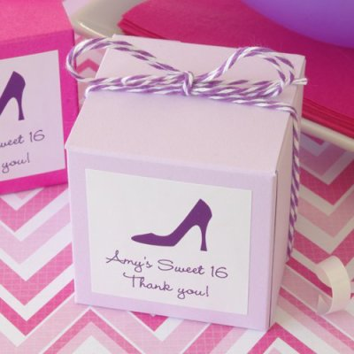 Party Theme Square Favor Box with Personalized Label