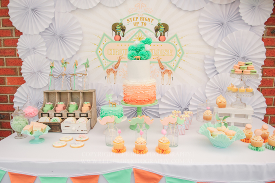 Peach Mint Circus party dessert table, birthday party, baby shower ideas