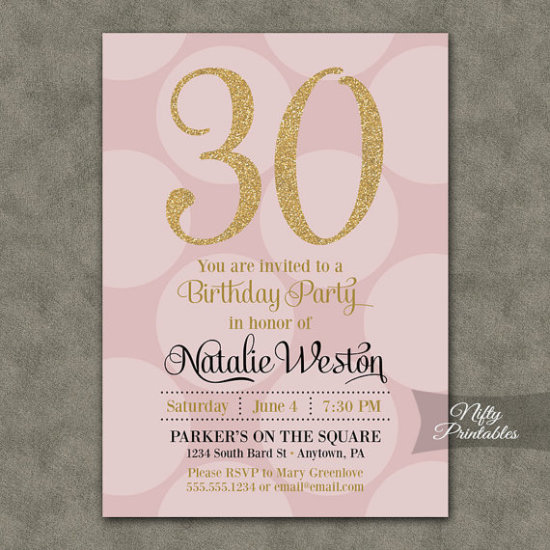 Pink Gold Birthday Invitations