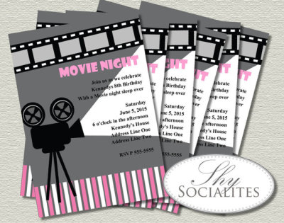 Pink & Grey Movie Night Invitation Cinema, Hollywood, Movie Reel