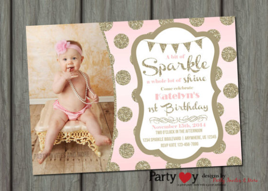 Sparkle Birthday Invitation, Blush Pink Invitation, Pink and Gold