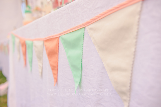 fabric mint peach beige bunting