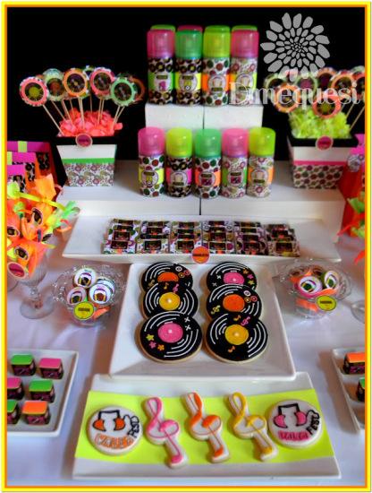 fiesta-disco-birthday-party-dessert-buffet