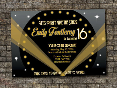 hollywood Sweet Sixteen Birthday Invitation