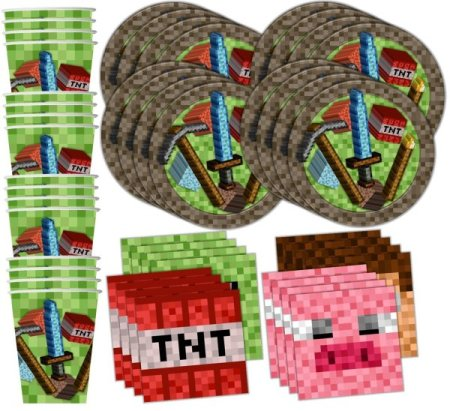 minecraft party tableware decorations