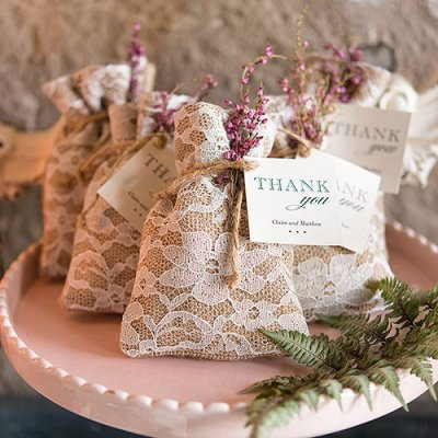 Burlap and Lace Favor Bags