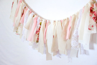 Neutral Pink Shabby Chic Rag Tie Garland-Lace Floral Gingham Banner