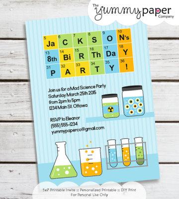 Personalized Printable Mad Scientist Invitation