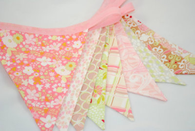 Shabby Chic Party Bunting in PINK GREEN & PEACH