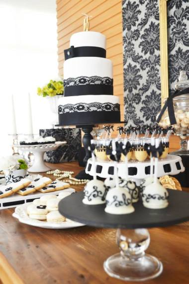 black-damask-70th-birthday-party-dessert-table-cake-centerpiece-ideas