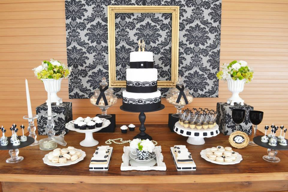 Gold black damask 70th birthday party birthday party for Decoration 70th birthday
