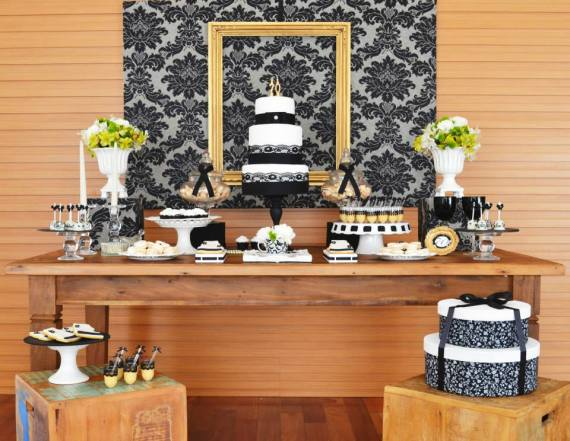 gold-black-damask-70th-birthday-party-dessert-table-close