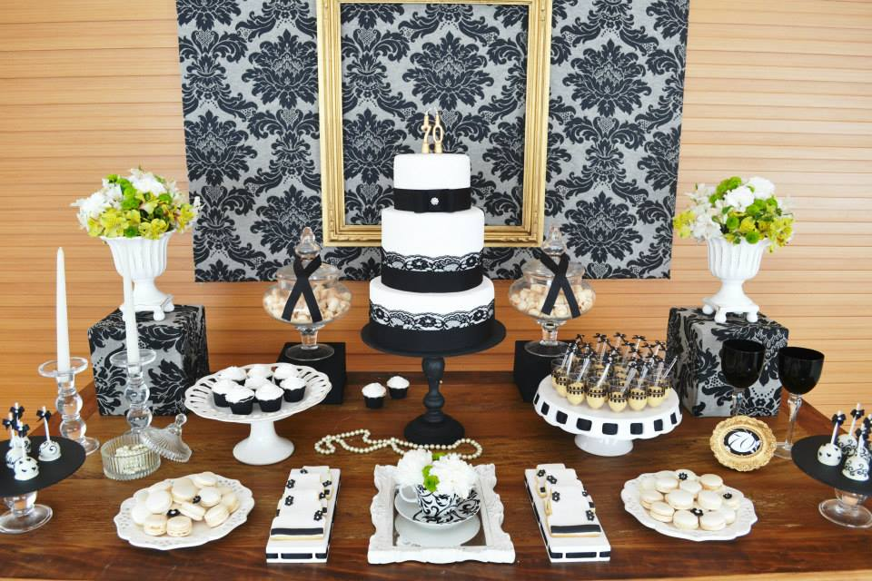 Gold black damask 70th birthday party birthday party for Adult birthday decoration
