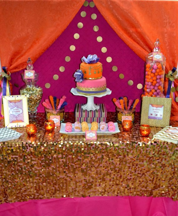 gold-moroccan-teen-birthday-party-ideas-dessert-table-gold-tablecover