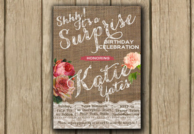 surprise birthday invitation, adult birthday invitation, shabby and chic invite, burlap lace invite