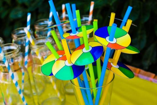 Colorful Beach Birthday Party beach ball straw toppers