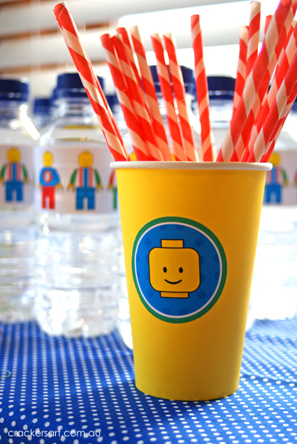 Crackers LEGO Birthday Party drinking cup
