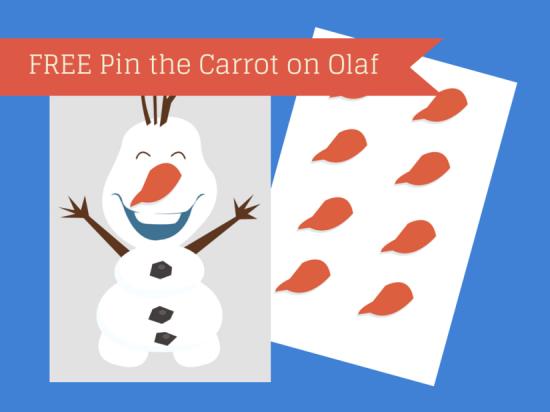 FREE Printable Pin the Carrot on Olaf & Tiara on Elsa