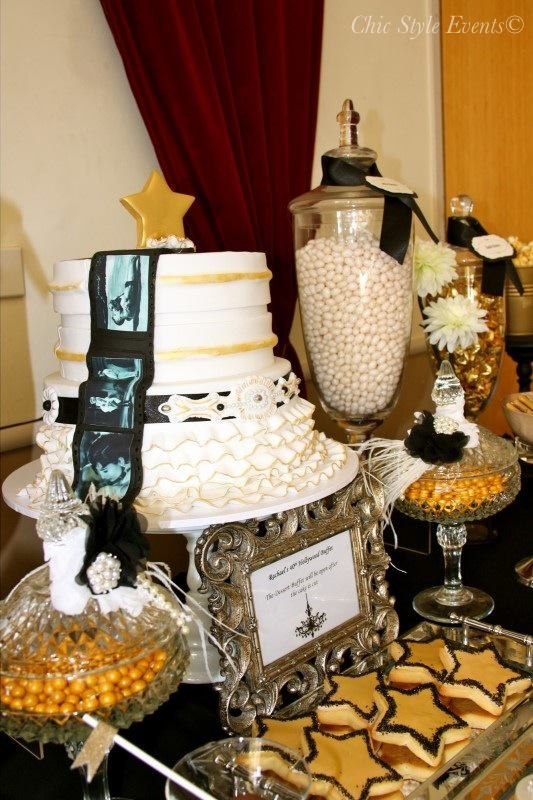 40th Hollywood Glam Party cake and cookies