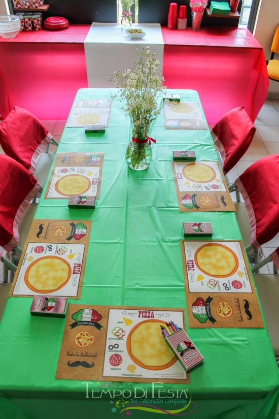 pizza party table setting with personalized mats