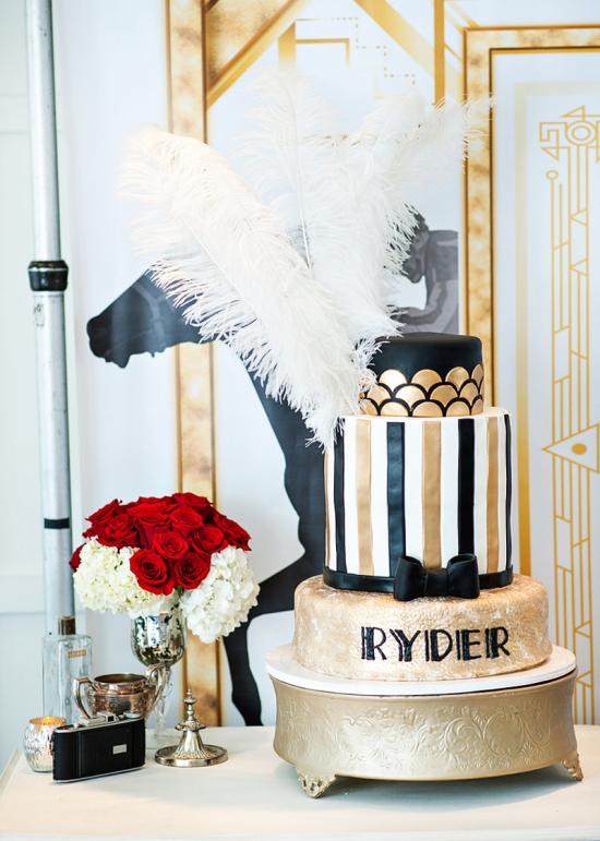 Derby & Roaring Gatsby Birthday Party cake - 1920s art deco style