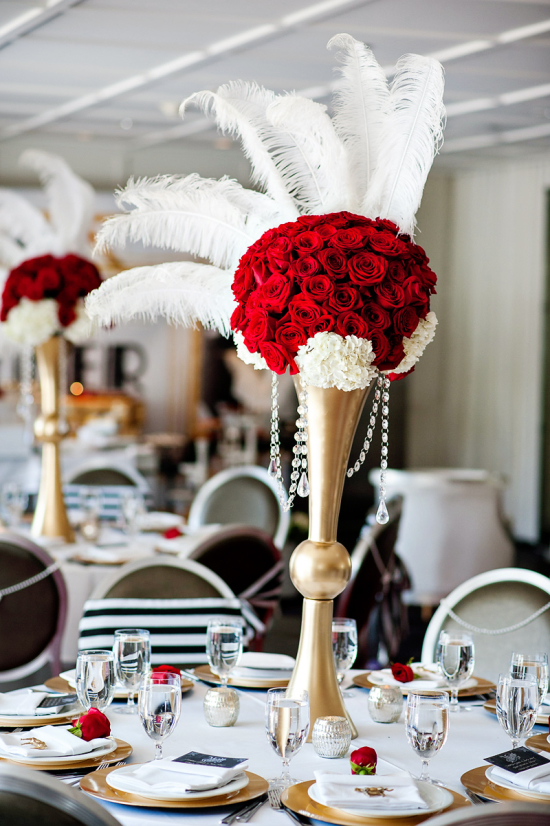 Derby & Roaring Gatsby Birthday Party centerpiece - art deco style