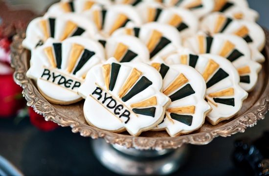 Derby & Roaring Gatsby Birthday Party cookies in art deco style party