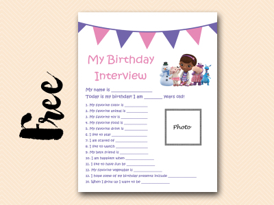 doc mcstuffins curious-george free printable birthday interview, birthday games, birthday activity #birthday #party