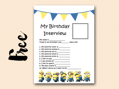 free minions party activity, minions birthday interview printable
