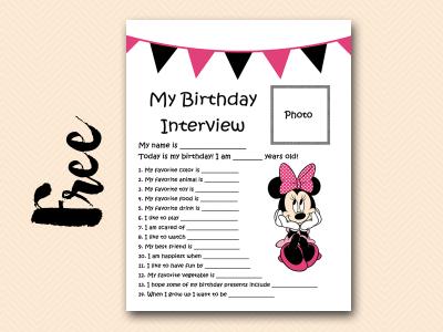 minnie pink curious-george free printable birthday interview, birthday games, birthday activity #birthday #party