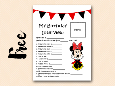minnie red curious-george free printable birthday interview, birthday games, birthday activity #birthday #party
