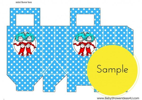 free dr seuss thing 1 thing 2 twins party printable  baby shower birthday boxes
