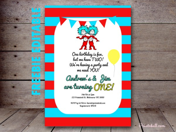 FREE Dr Seuss Thing 1 Thing 2 Twins Party Printable Birthday Party