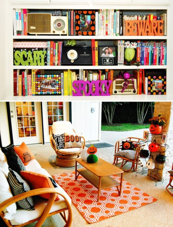 Playful-And-Spooky-Pumpkin-Halloween-Party-Living-Room-Decor