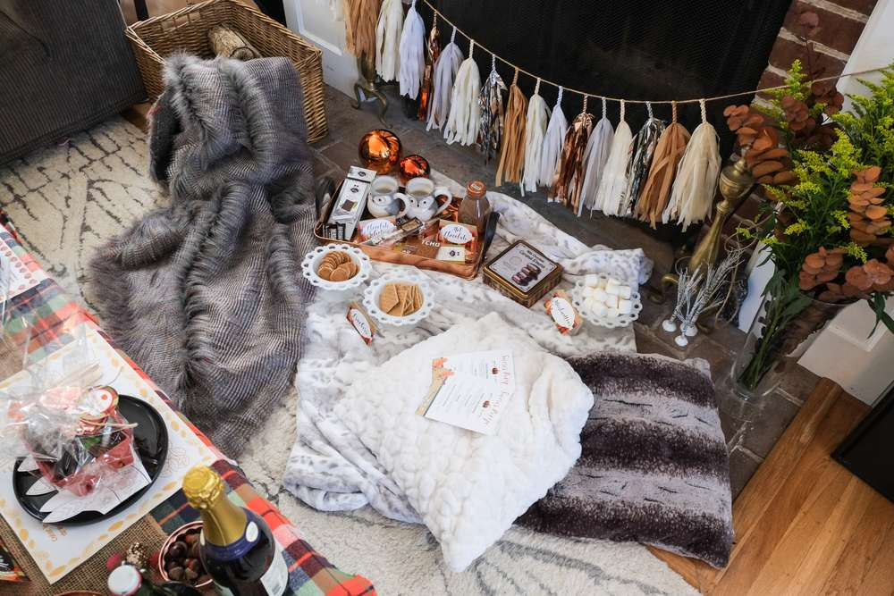 Copper Plaid And Fur Thanksgiving Party Birthday Party