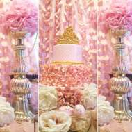 Golden-White-And-Pink-Princess-Birthday-Party-Cake