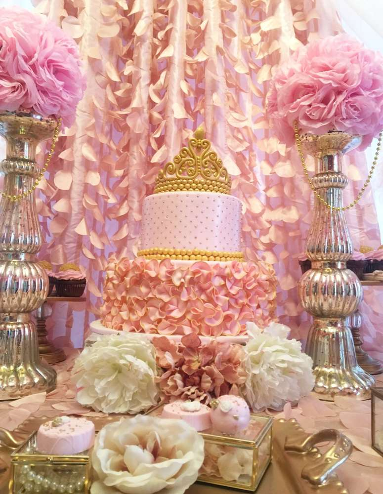 Golden white and pink princess birthday party