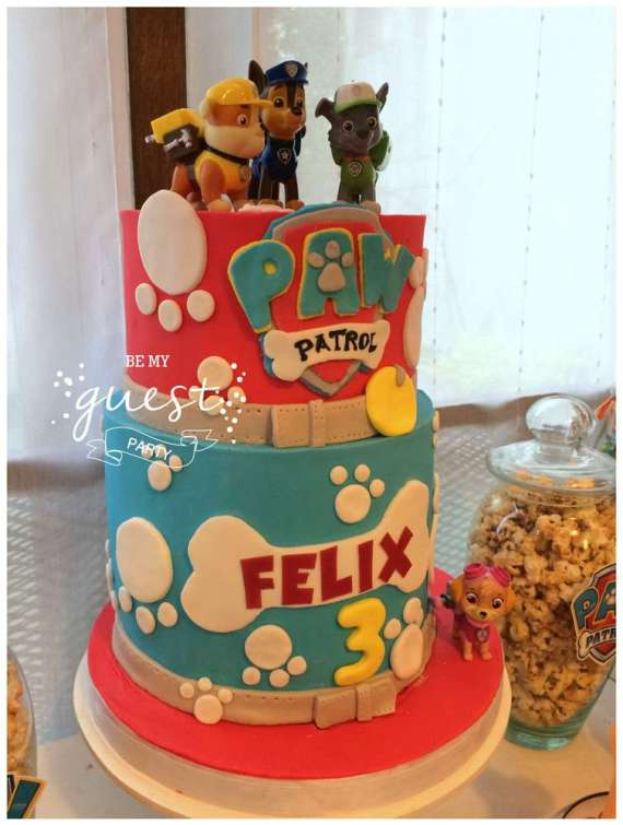 Colorful-Paw-Patrol-Birthday-Party-Tiered-Cake