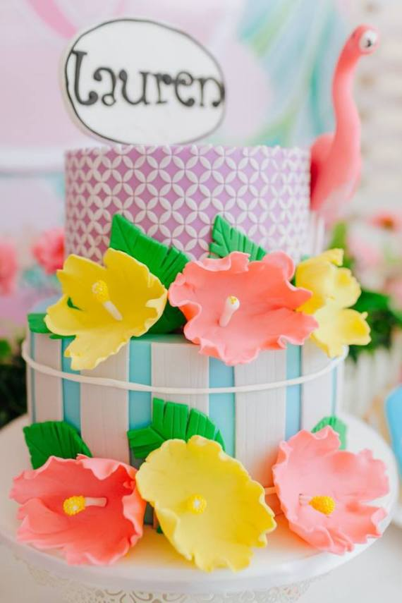 Tropical-Flowers-And-Flamingos-Birthday-Cake