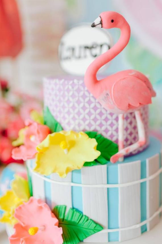 Tropical-Flowers-And-Flamingos-Birthday-Layered-Cake