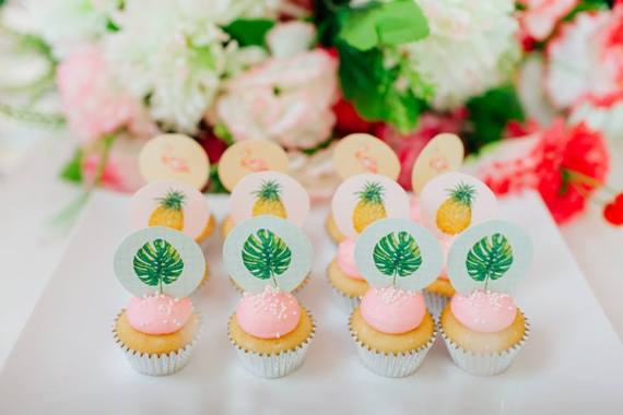 Tropical-Flowers-And-Flamingos-Birthday-Pink-Cupcakes