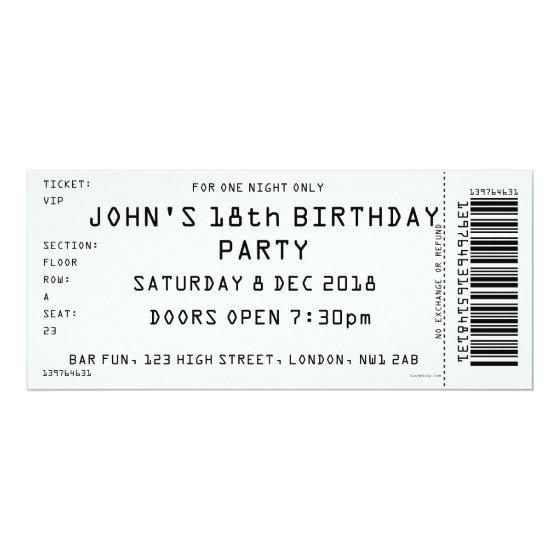 Custom Colour Concert Ticket Party Invitation \u2013 Birthday Party