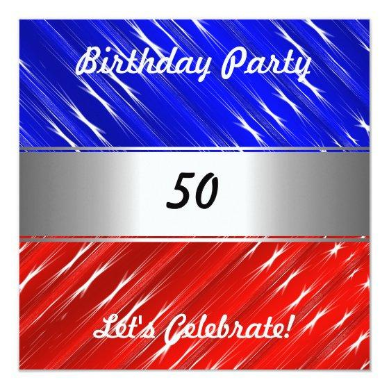 Red White Blue Any Party or Event Invitation \u2013 Birthday Party